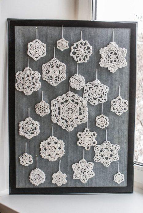Вязаные снежинки в подарок на Новый год