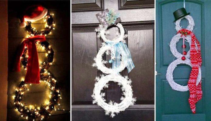 Снеговик у входа приглашает на праздник