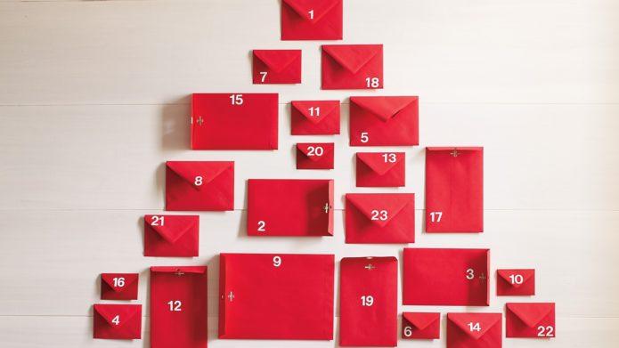 Вариант календаря-сюрприза из конвертов