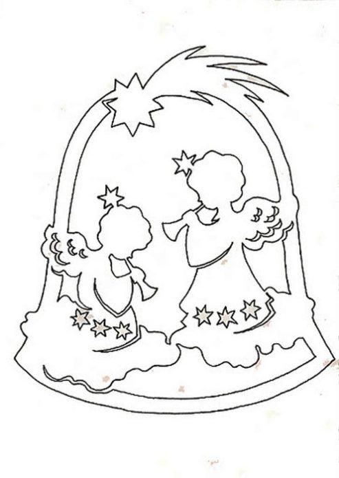 Вытынанка колокольчик с ангелочками