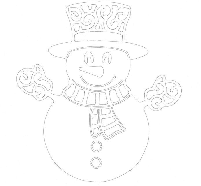 Вытынанка снеговик в цилиндре