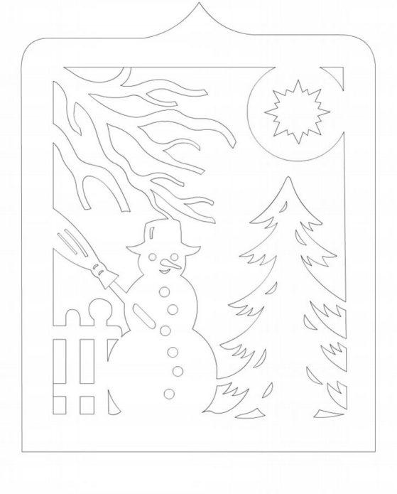 Вытынанка снеговик у ёлки