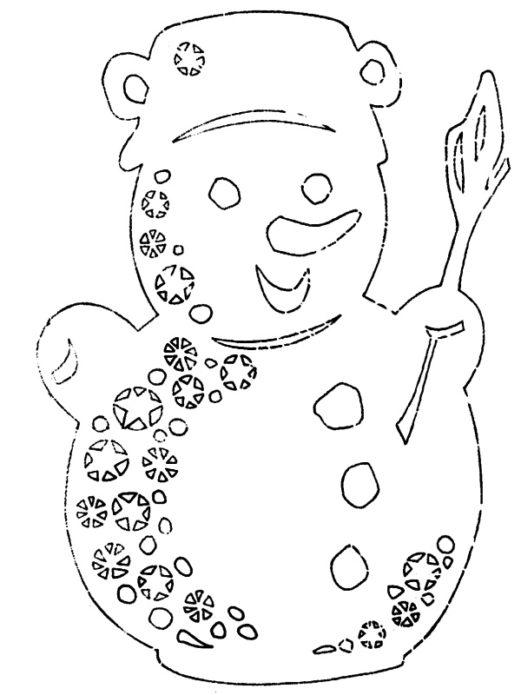 Вытынанка нарядный снеговик