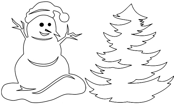 Вытынанка снеговик и ёлка