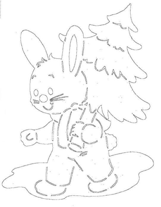Вытынанка зайчик