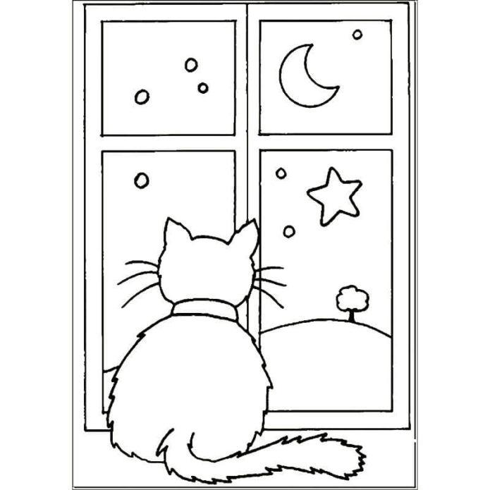 Вытынанка кошка у окна