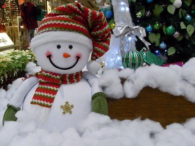 Флисовый снеговик у ёлки