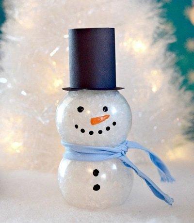 Снеговичок из бутылочки, заполненной ватой