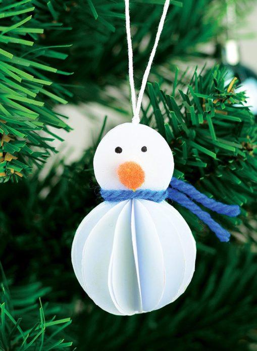 Бумажный снеговик-игрушка