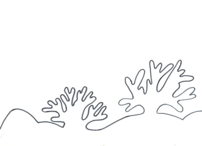 Вытынанка сугробы и кусты