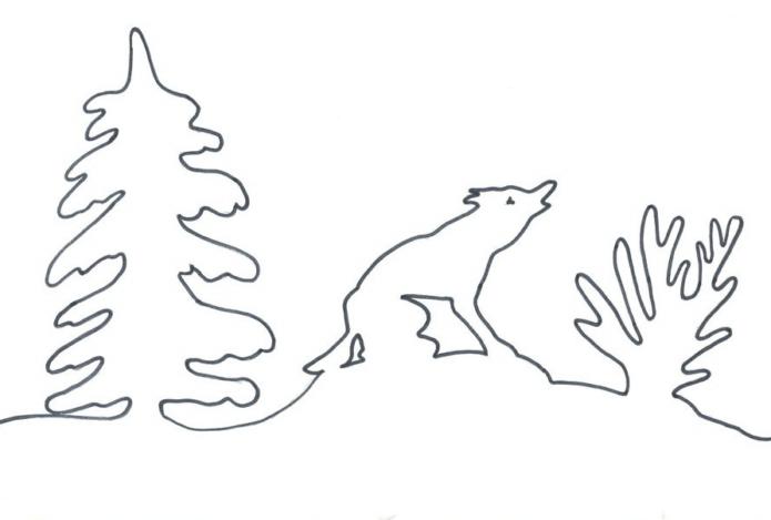 Вытынанка сугробы, ёлка и лиса