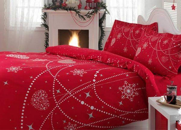 Снежинки на постельном белье