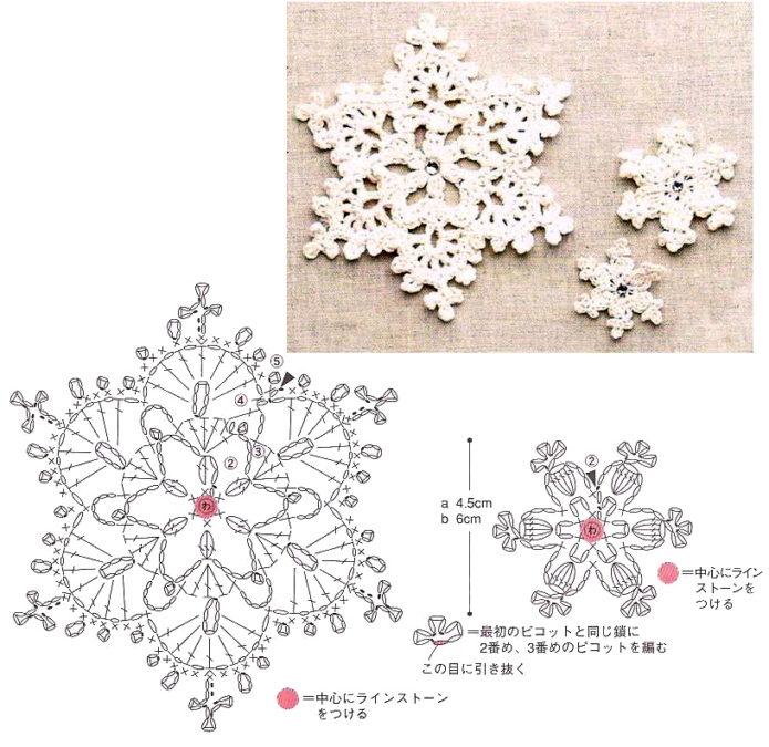Вязаные снежинки крючком