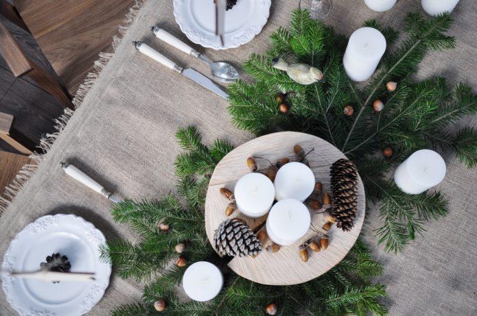 Скандинавский стиль новогоднего стола