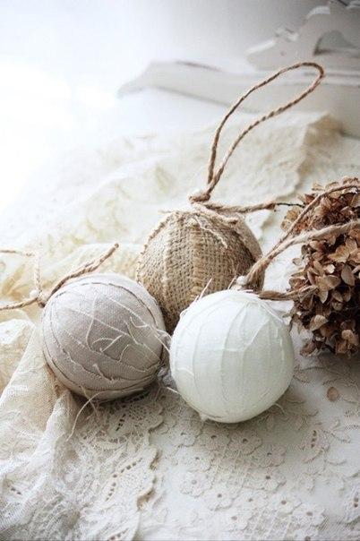 Рустикальные ёлочные шарики