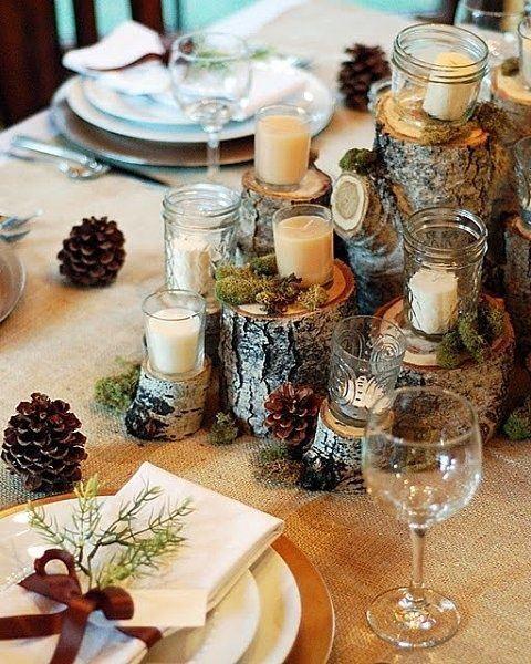 Новогоднее убранство стола в рустик-стиле