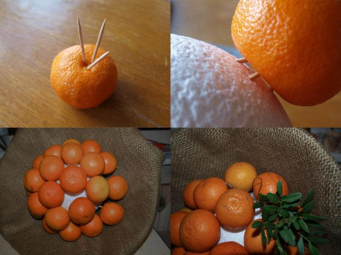 Схема букета из мандаринов