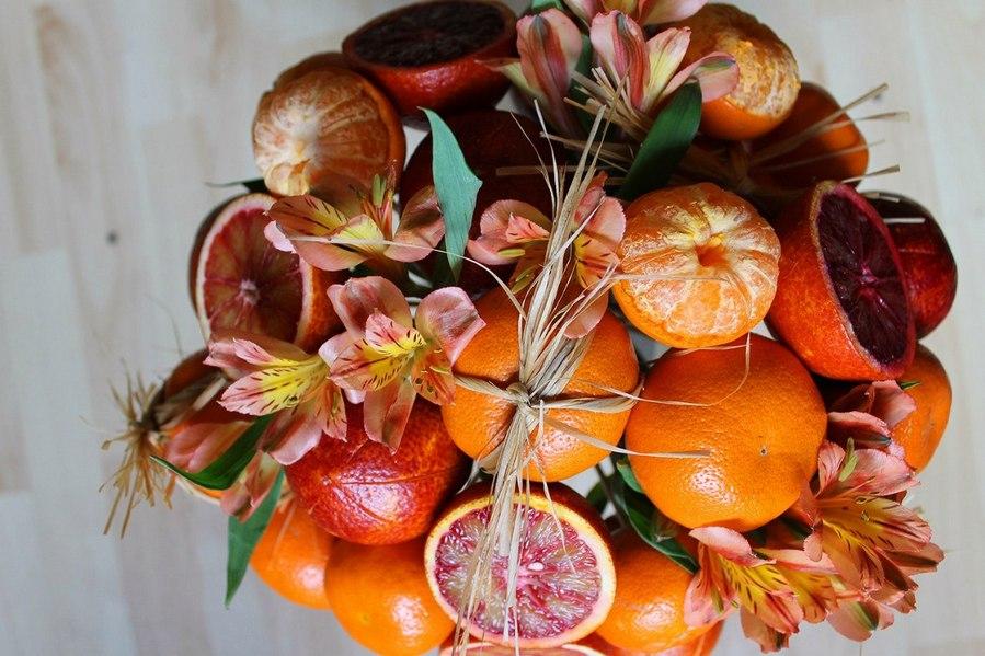 Букет из фруктов и цветов своими руками пошагово, цветов