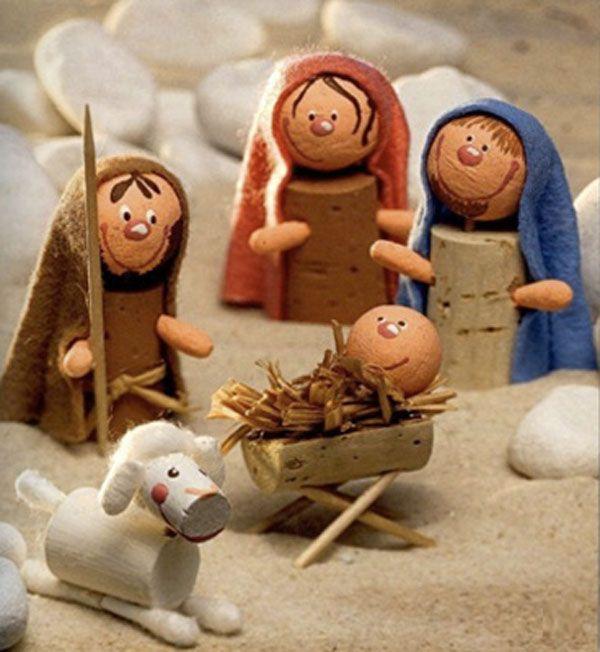 Куколки из пробок для рождественского вертепа