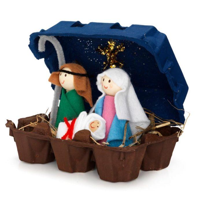 Коробка от яиц для рождественского вертепа
