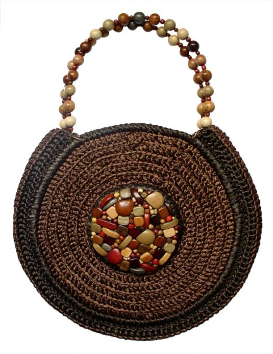 Коричневая сумочка из атласной ленточки