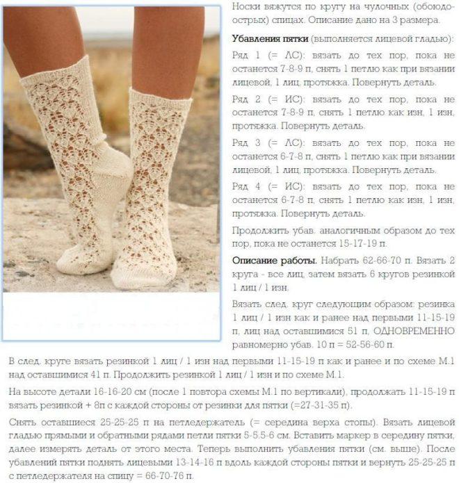 Описание вязания ажурных белых носков