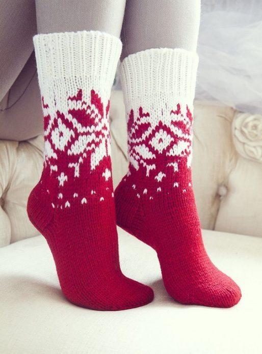 Носки с норвежским жаккардом