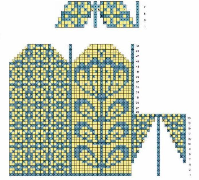 Схема для вязания жаккардовых варежек