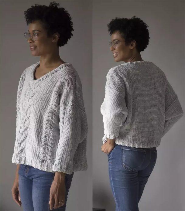 Пуловер из плюшевой пряжи