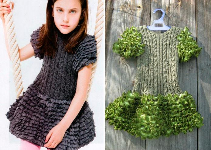 Платья для девочек с рюшами из ленточной пряжи