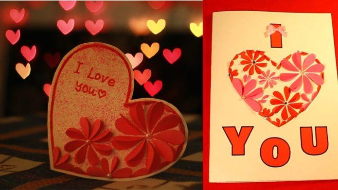 Валентинки с цветами из сердечек