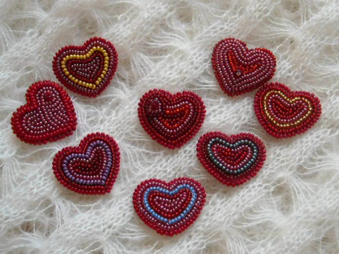 Валентинки из бисера