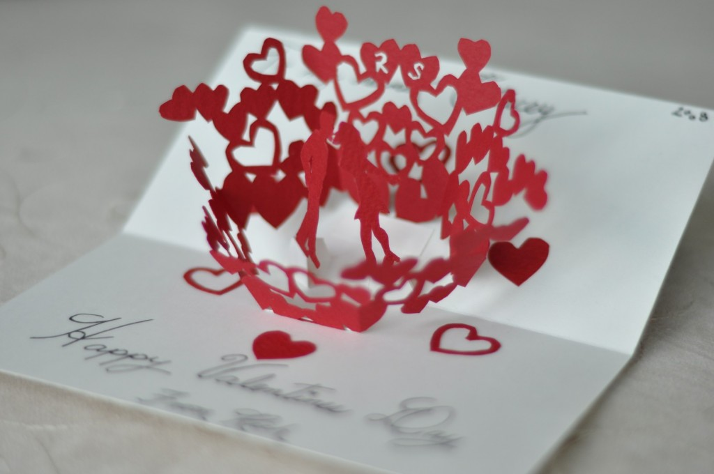 Объемная открытка на день святого валентина