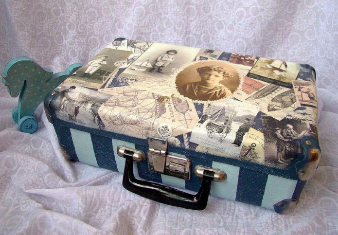 Декупаж на чемодане