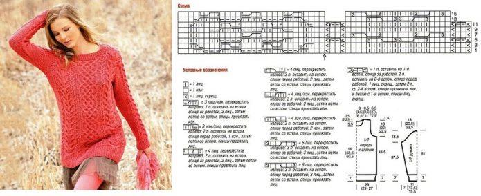 Ярко-красный свитер с аранами