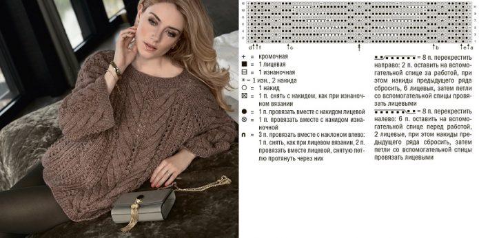 Арановый объёмный свитер