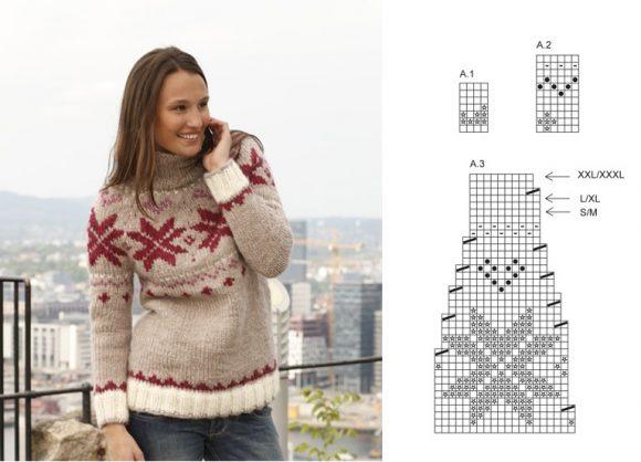 Жаккардовый свитер со звёздами