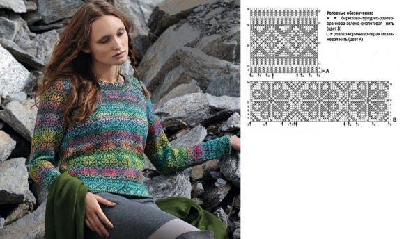 Пестрый жаккардовый свитер