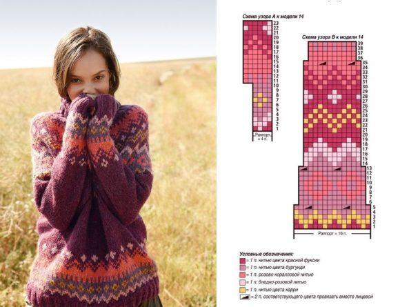 Объёмный жаккардовый свитер