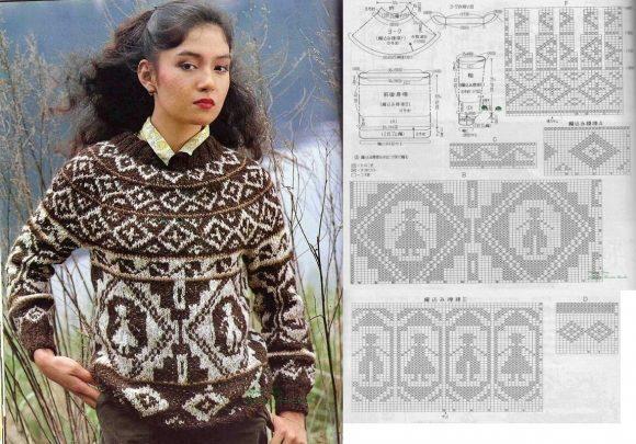 Жаккардовый свитер с фигурами