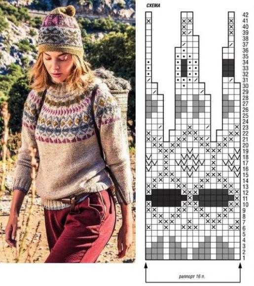 Жаккардовый свитер с норвежским узором