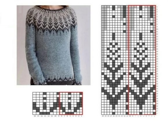 Жаккардовый свитер-лопапейса