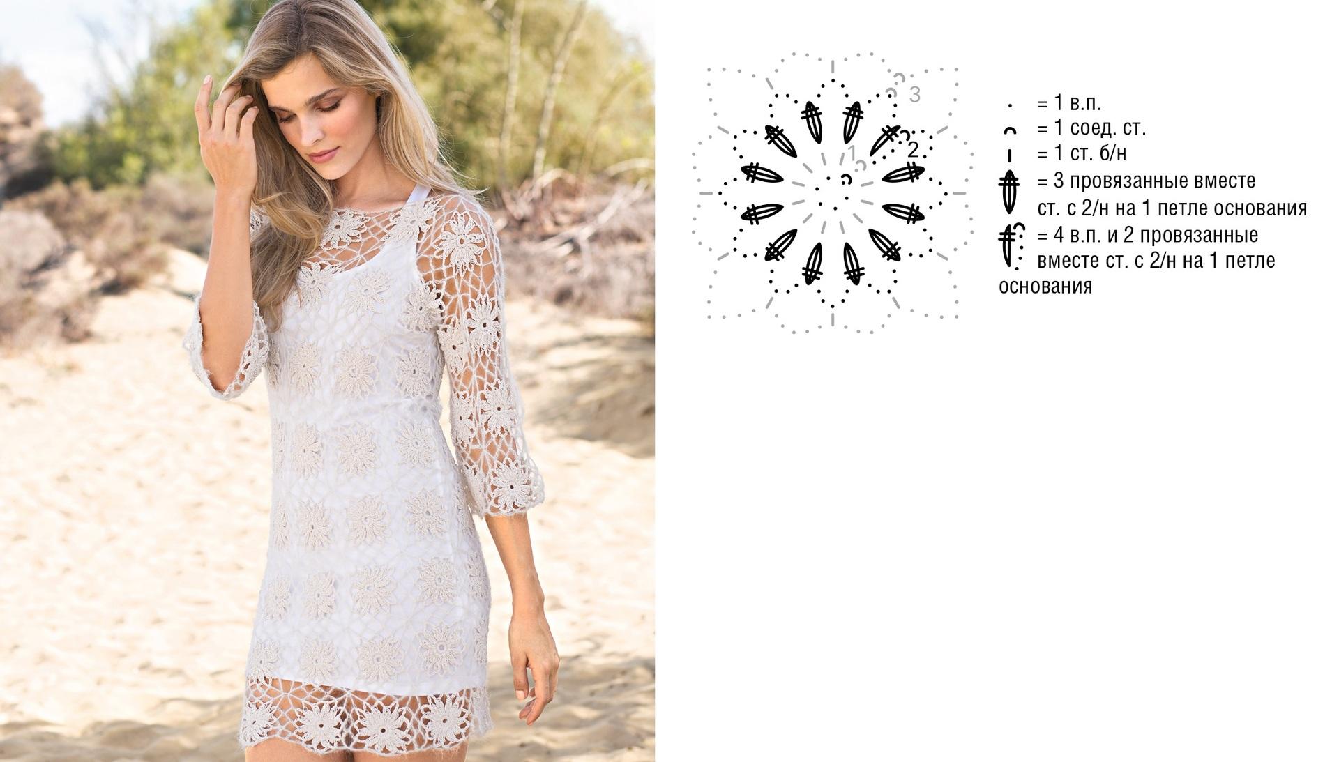 мотивы для вязания платья крючком фото и схемы
