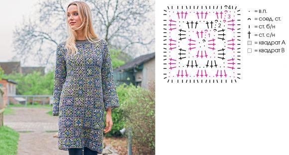 Платье из мотивов «бабушкин квадрат»