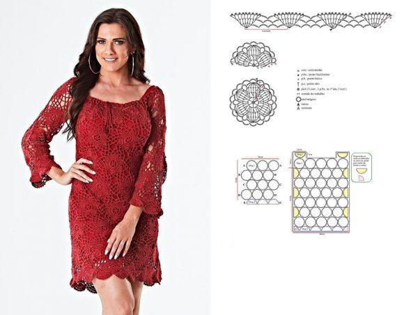 Красное платье из мотивов