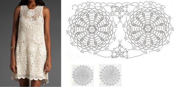 Белое платье из мотивов, расширяющееся к подолу