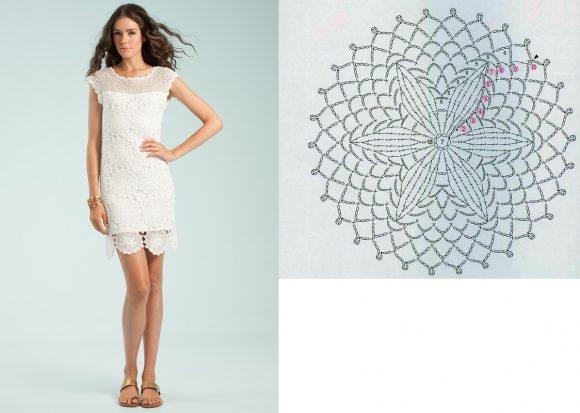 Белое платье из кружевных мотивов