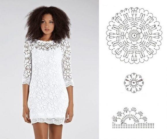 Кружевное платье из круглых мотивов
