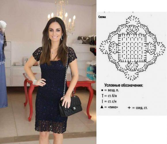 Кружевное чёрное платье из квадратных мотивов