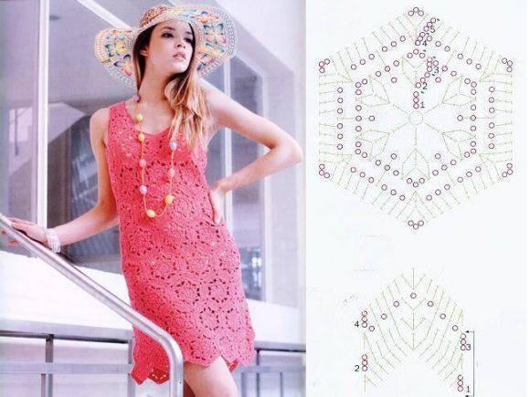 Розовое платье из шестиугольных мотивов